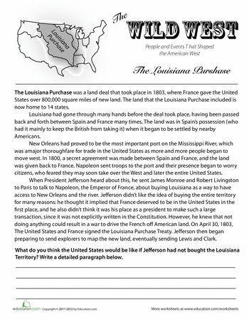 7th Grade History Worksheets History Of the Louisiana Purchase
