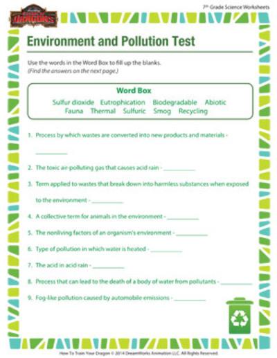 7th Grade Science Worksheets Printable Environment and Pollution 7th Grade Science Worksheet