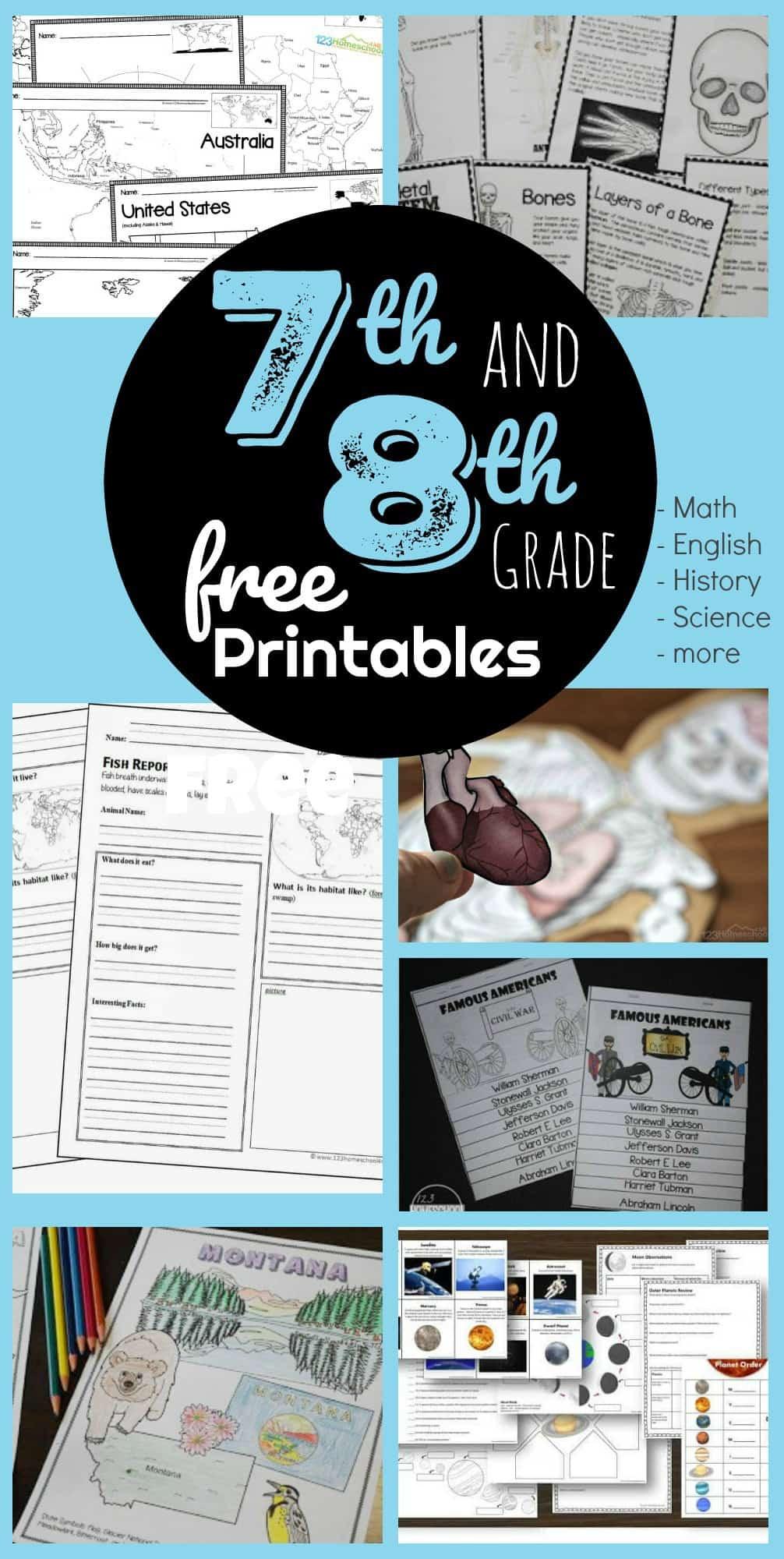 7th Grade Science Worksheets Printable Free 7th & 8th Grade Worksheets
