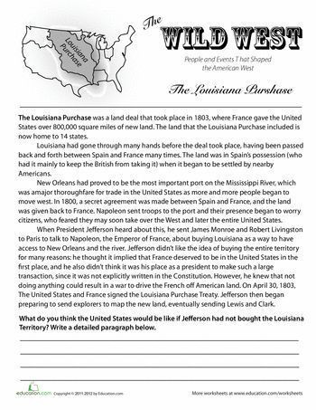 8th Grade social Studies Worksheets History Of the Louisiana Purchase