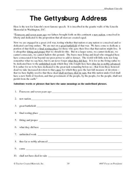 8th Grade social Studies Worksheets the Gettysburg Address Worksheet for 5th 6th Grade