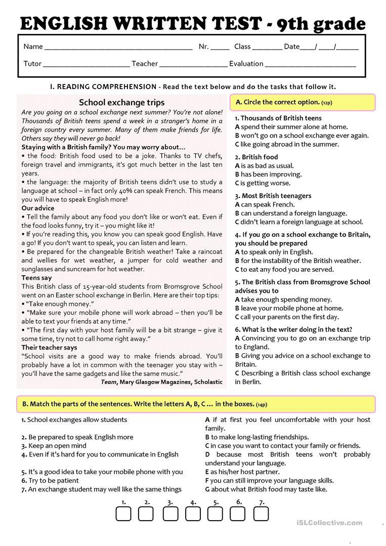 9th Grade Grammar Worksheets Exchange Programmes Test A2 B1 9th Grade Version A