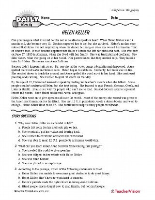 9th Grade Nonfiction Reading Passages Helen Keller Biography Teachervision