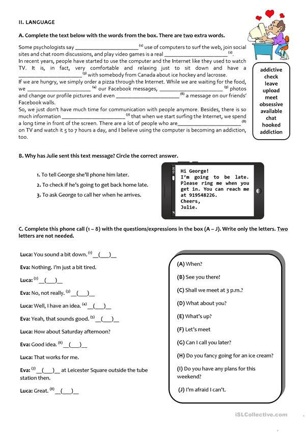 9th Grade Printable Worksheets the Internet Test 9th Grade A2 B1 English Esl