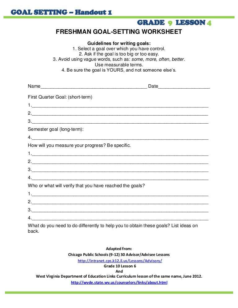 9th Grade Writing Worksheets Grade 9 Goal Setting Sheet