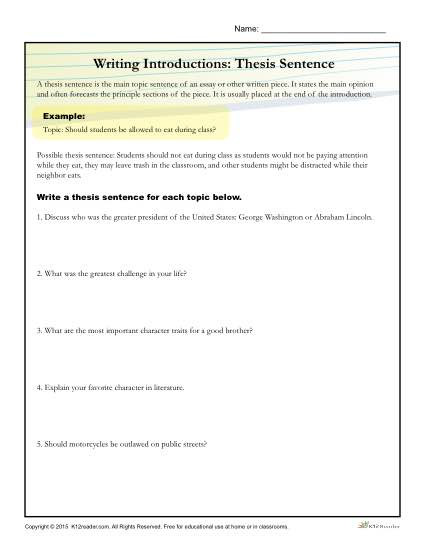 9th Grade Writing Worksheets How to Write A thesis Statement Worksheet Activity