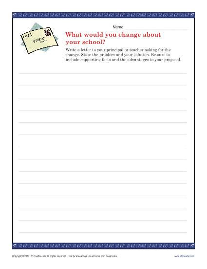 9th Grade Writing Worksheets School Change Letter