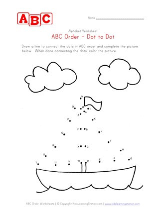 Abc Connect the Dots Printable Abc Dot to Dot Boat