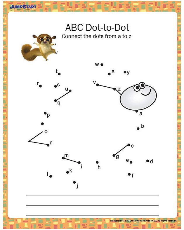 Abc Connect the Dots Printable Abc Dot to Dot Printable Kindergarten Worksheet