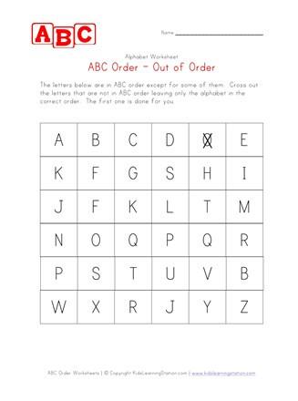 Abc order Worksheets Kindergarten Alphabetical order Worksheet Capital Letters