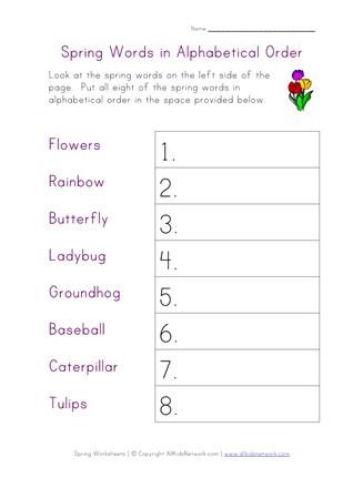 Abc order Worksheets Kindergarten Spring Alphabetical order Worksheet