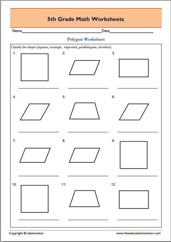 Abeka 3rd Grade Math Worksheets 5th Grade Geometry Math Worksheets Polygons