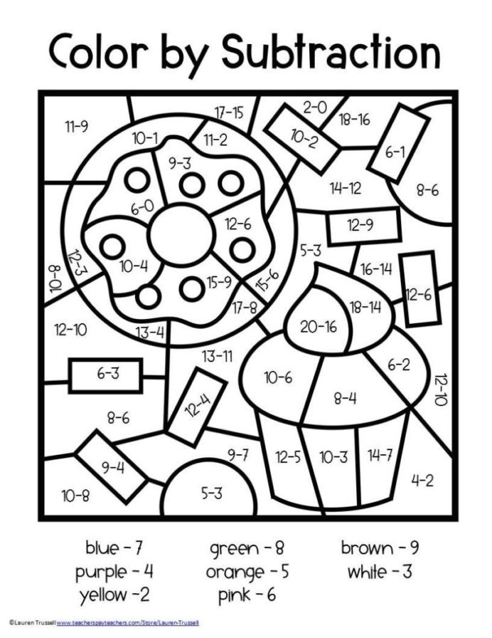 Addition Math Coloring Worksheets Color by Number Worksheets Subtraction 2nd Free Third Grade