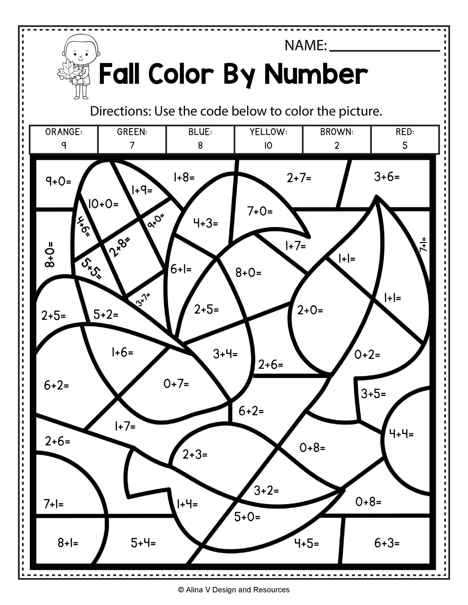 Addition Math Coloring Worksheets Fall Color by Number Addition Math Worksheets and Activities