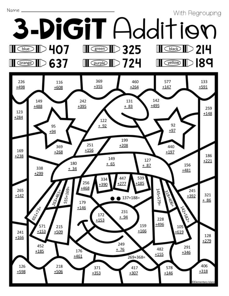 Addition Math Coloring Worksheets Halloween Three Digit Addition Color by Number with and