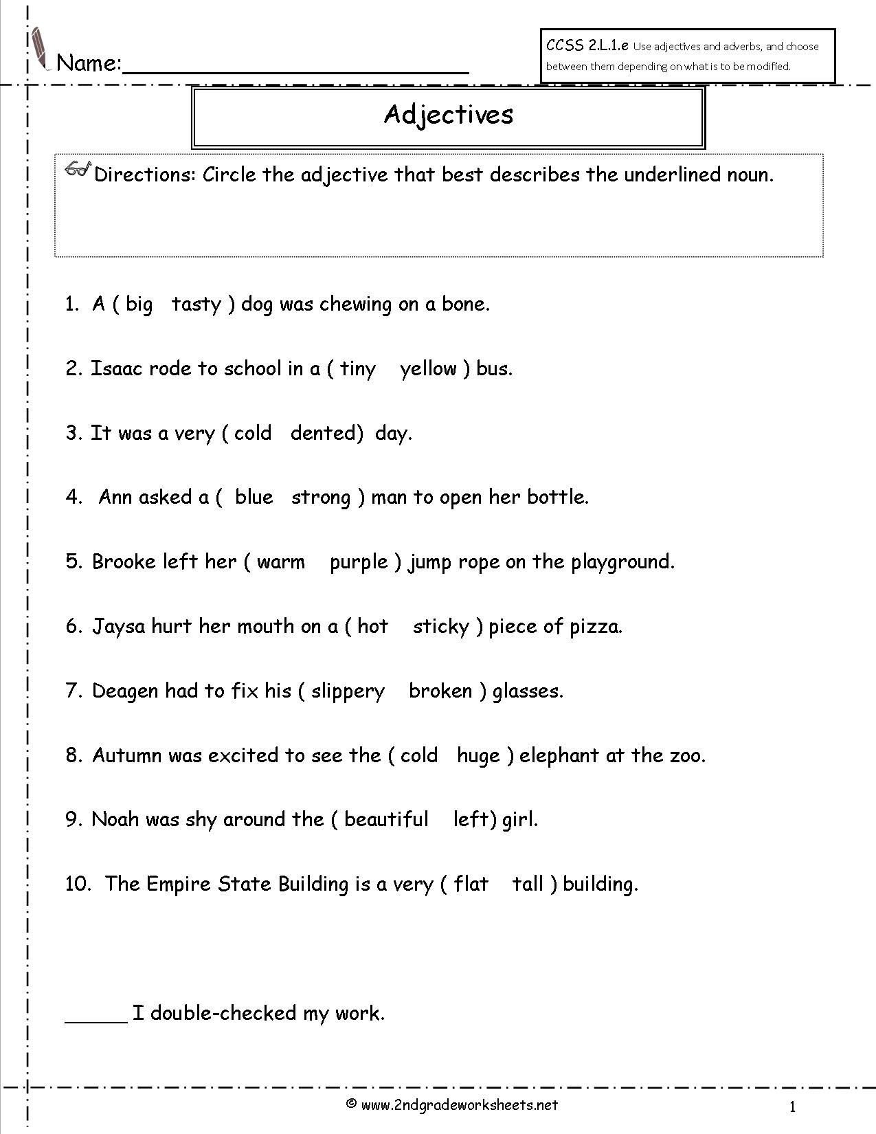 Adjectives Worksheet 2nd Grade Adjectives Worksheet