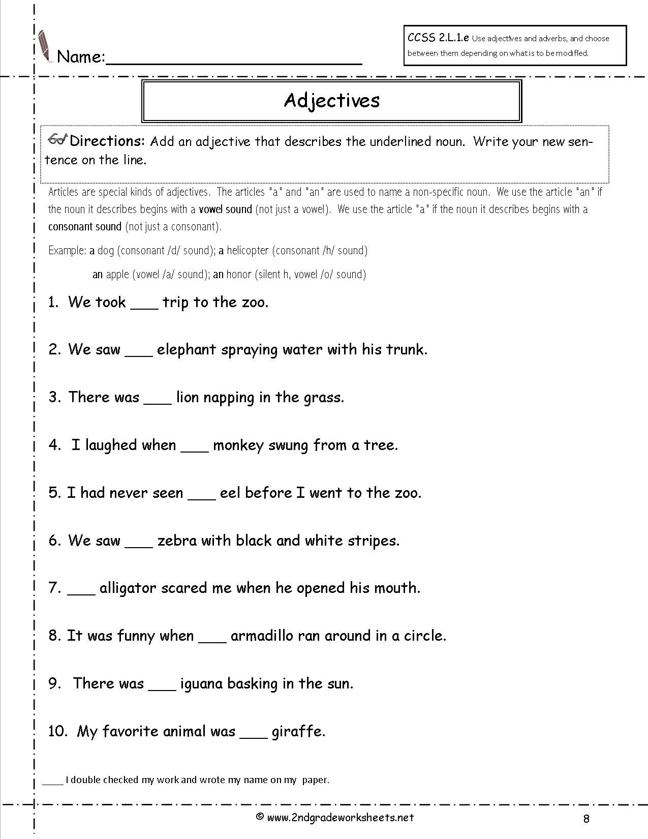 Adjectives Worksheet 2nd Grade Free Language Grammar Worksheets and Printouts