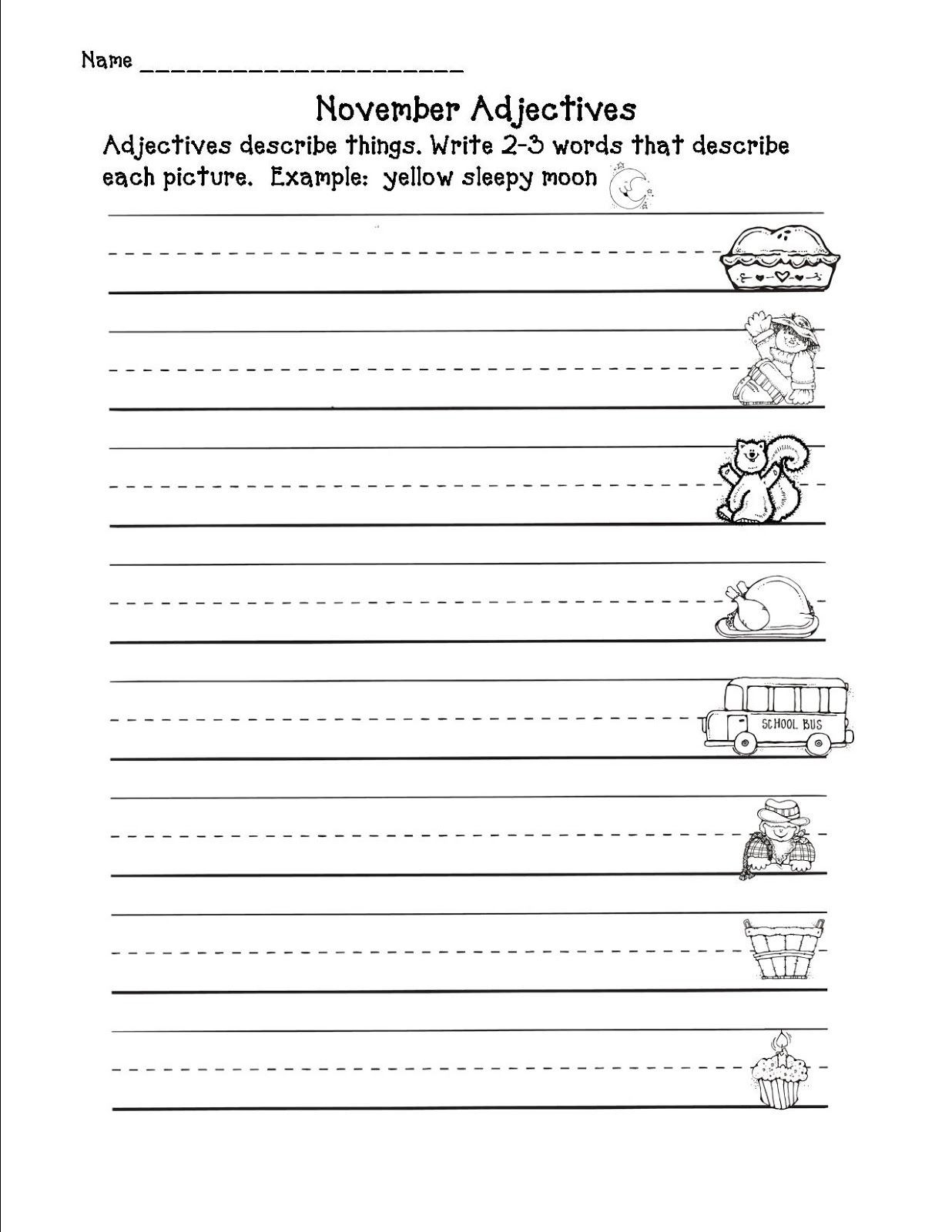 Adjectives Worksheet 2nd Grade November Adjectives Worksheet Second Grade Freebies