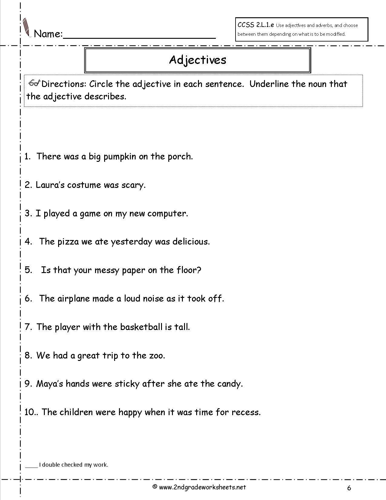 Adjectives Worksheets for Grade 2 Adjective Worksheet