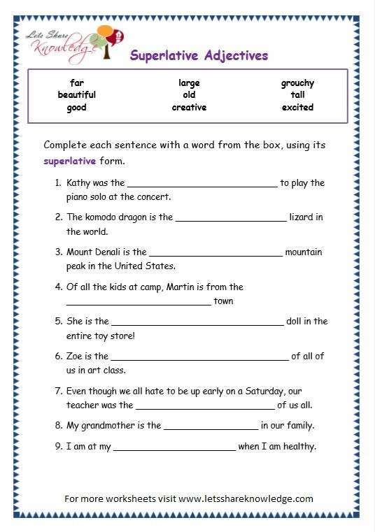 Adjectives Worksheets for Grade 2 Grade Grammar topic Superlative Adjectives Worksheets Lets