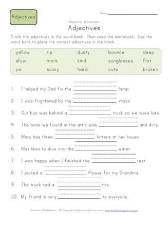 Adjectives Worksheets for Grade 2 Plete the Sentences Worksheet 2