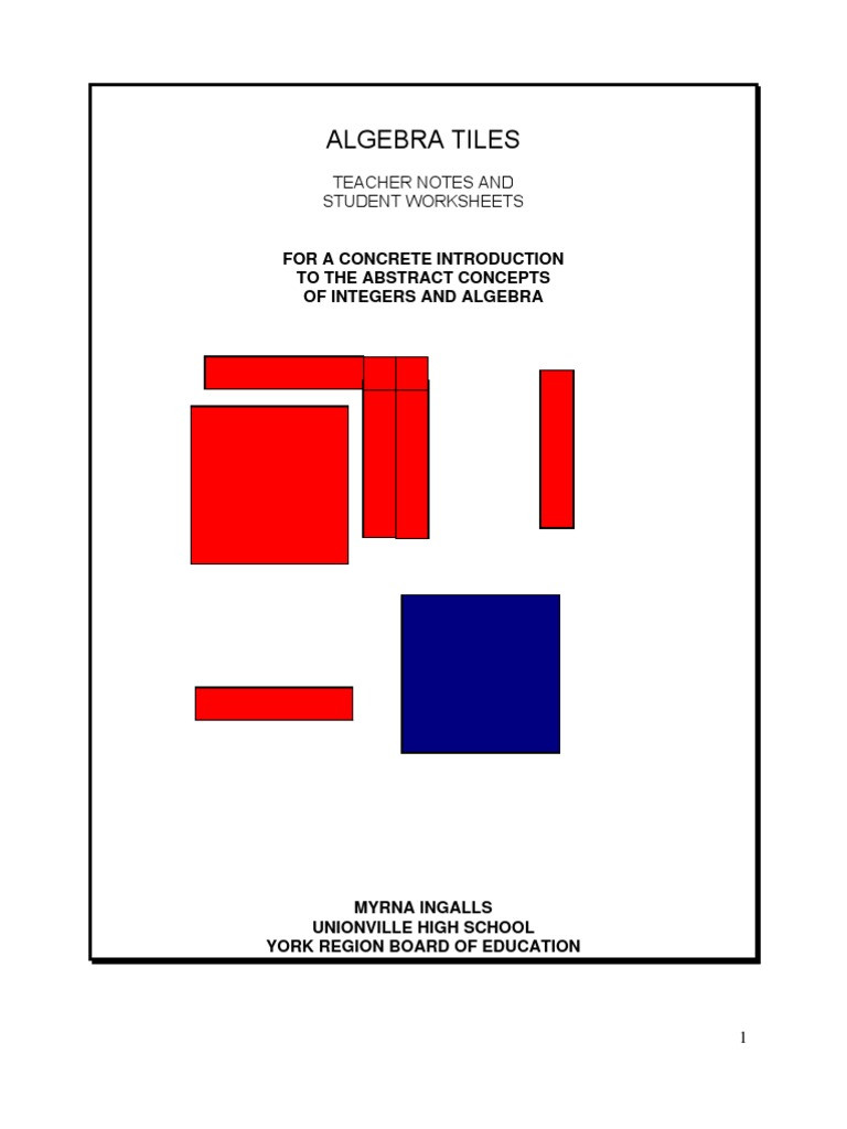 Algebra Tiles Worksheets 6th Grade Algebra Tiles Equations