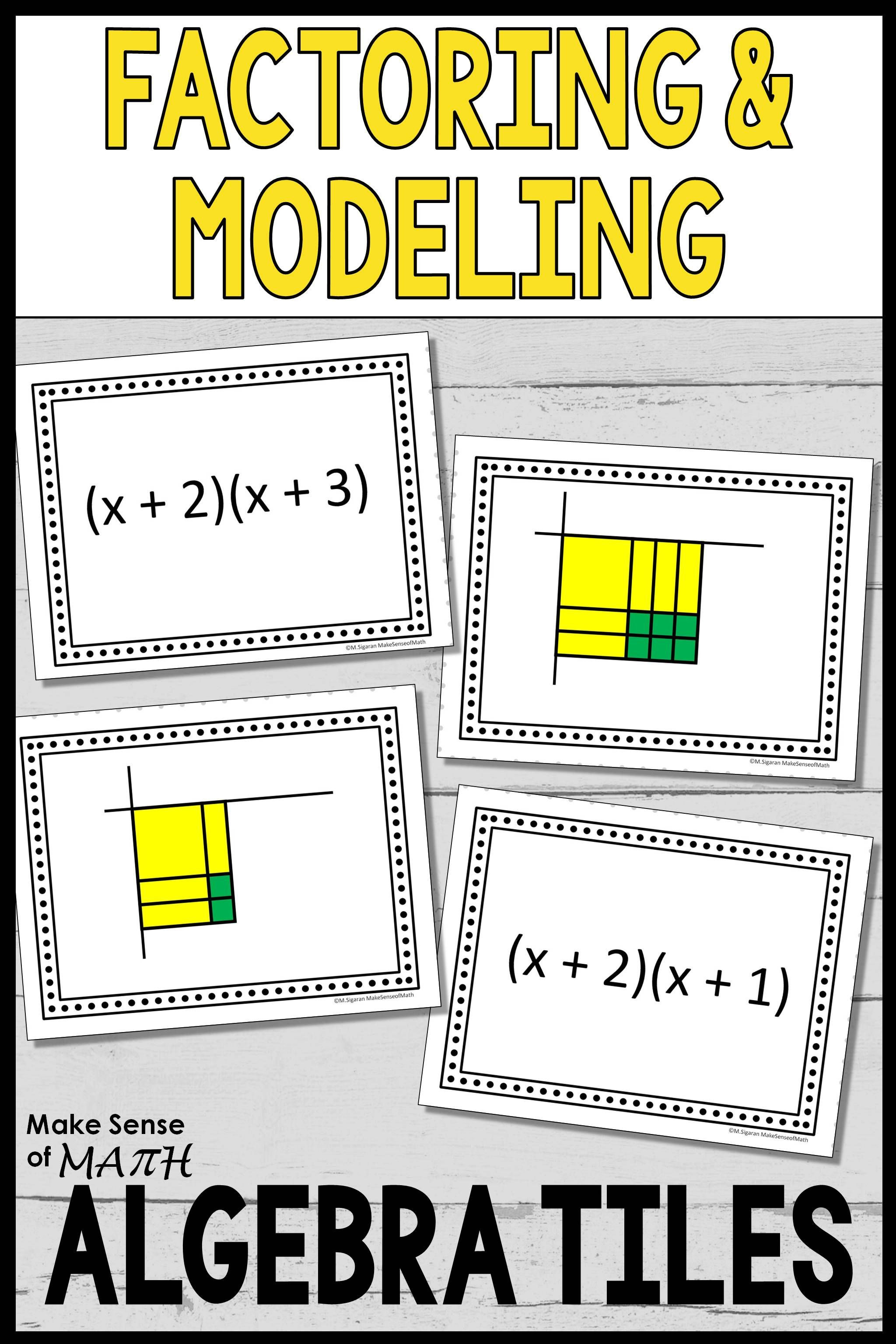 Algebra Tiles Worksheets 6th Grade Factors and Models with Algebra Tiles Task Cards