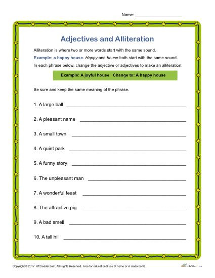 Alliteration Worksheets 4th Grade Adjectives and Alliteration