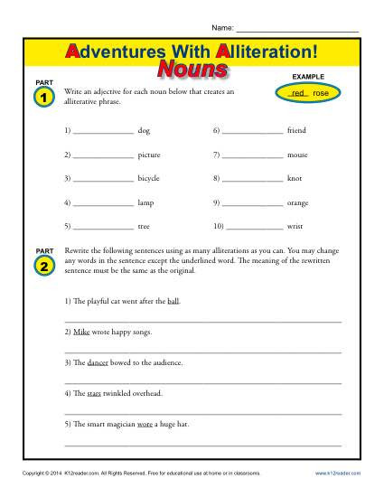 Alliteration Worksheets 4th Grade Alliteration and Nouns