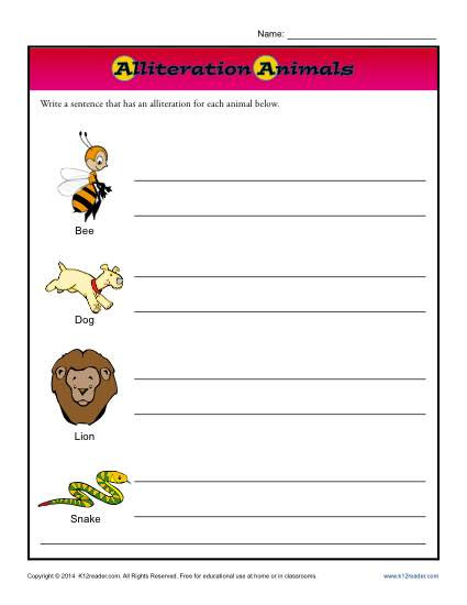 Alliteration Worksheets 4th Grade Alliteration Animals