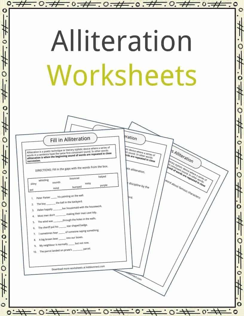 Alliteration Worksheets 4th Grade Alliteration Examples Definition & Worksheets