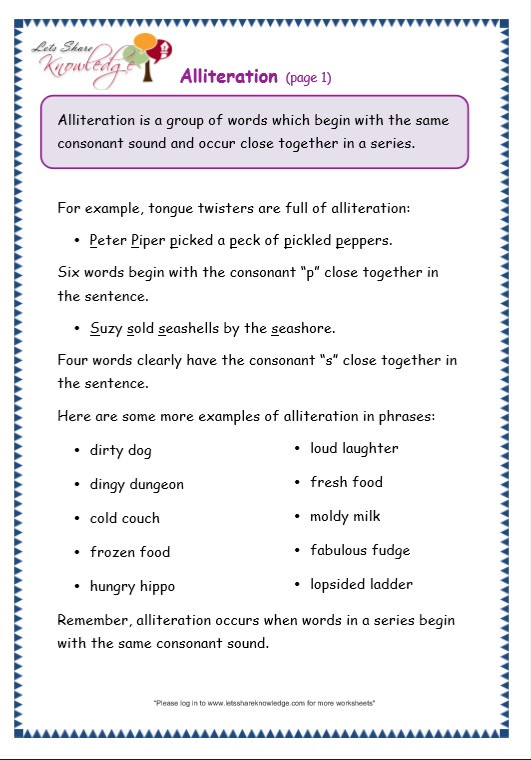Alliteration Worksheets 4th Grade Grade 3 Grammar topic 33 Alliteration Worksheets Lets