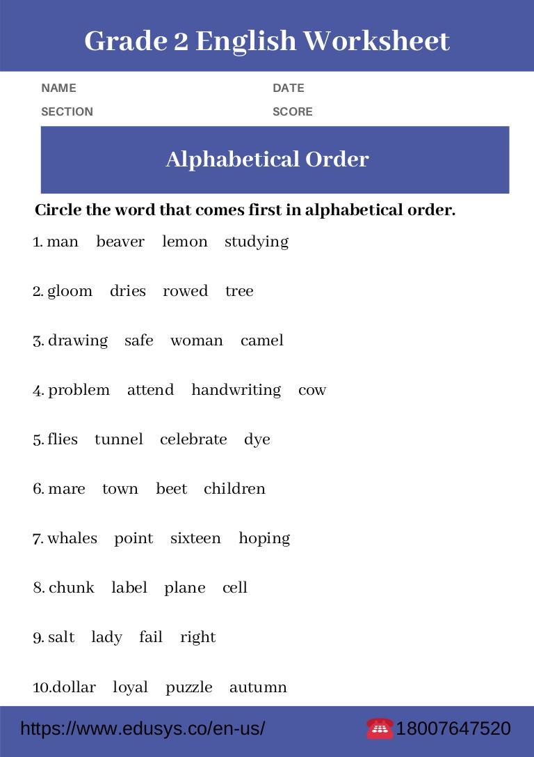 Alphabetical order Worksheets 2nd Grade 2nd Grade English Grammar Worksheet Free Pdf