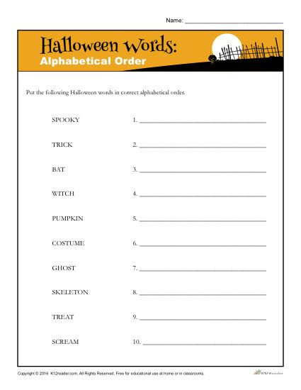 Alphabetical order Worksheets 2nd Grade Alphabetical order Halloween Words