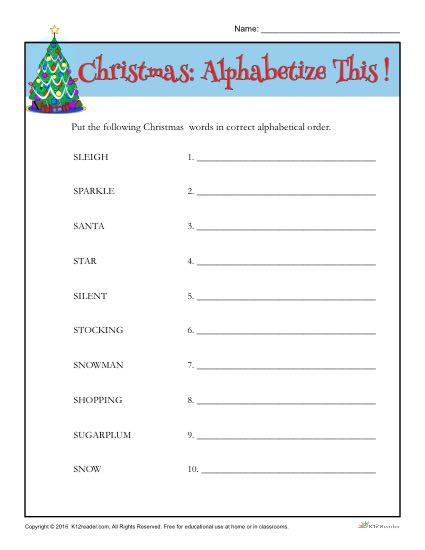 Alphabetical order Worksheets 2nd Grade Christmas Words Activity