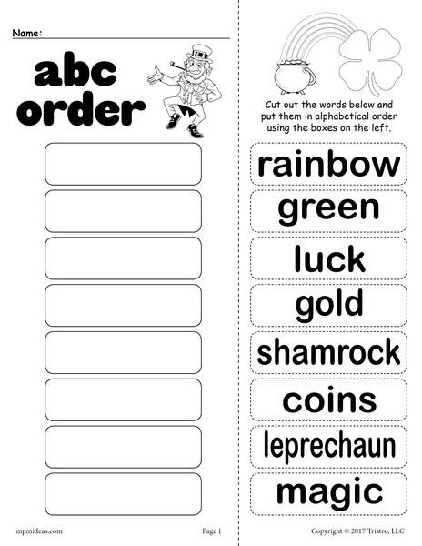 Alphabetical order Worksheets 2nd Grade St Patrick S Day Alphabetical order Worksheet