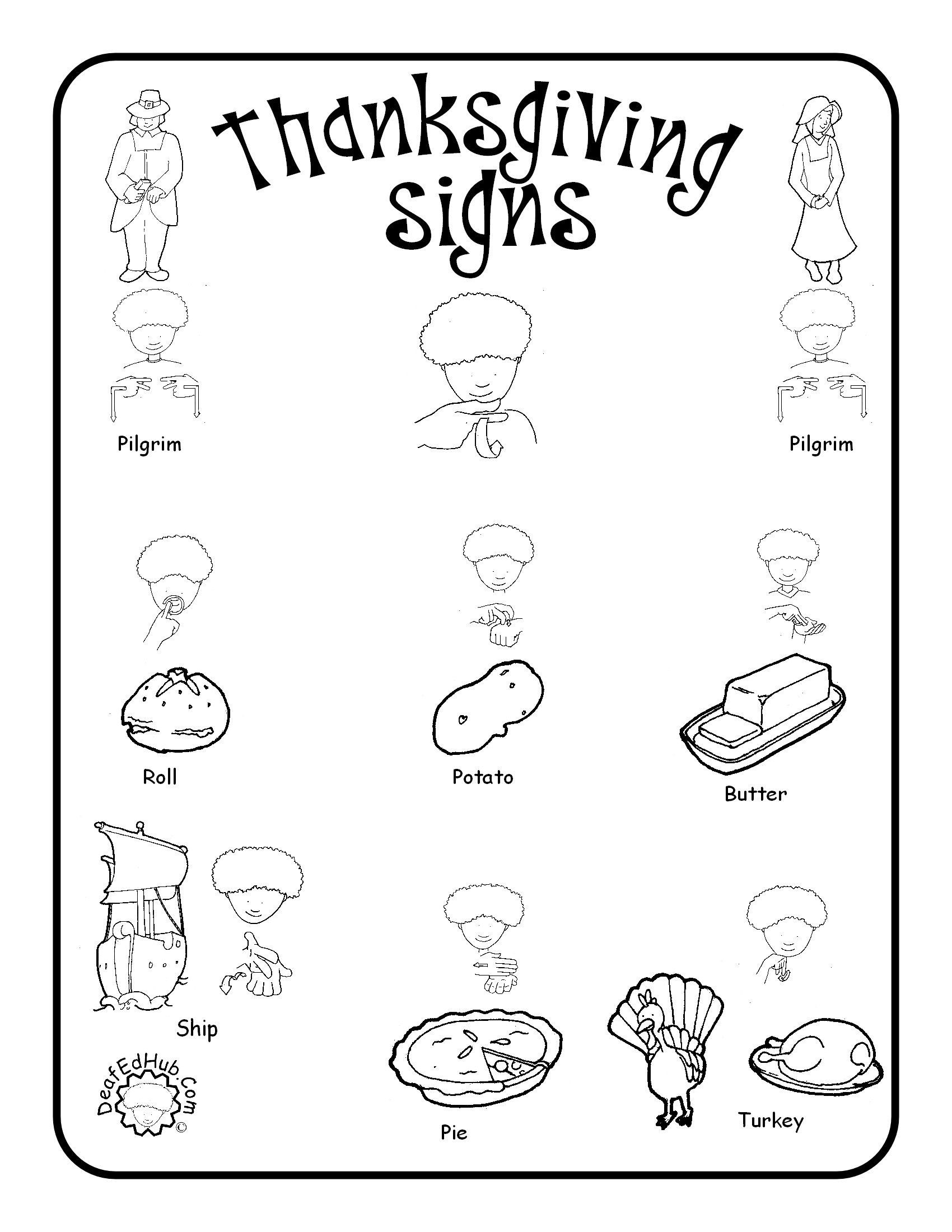 American Sign Language Worksheets Printable Thanksgiving Sign Language Words