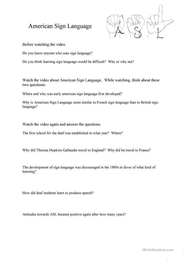 American Sign Language Worksheets Printable Video & Worksheet American Sign Language English Esl