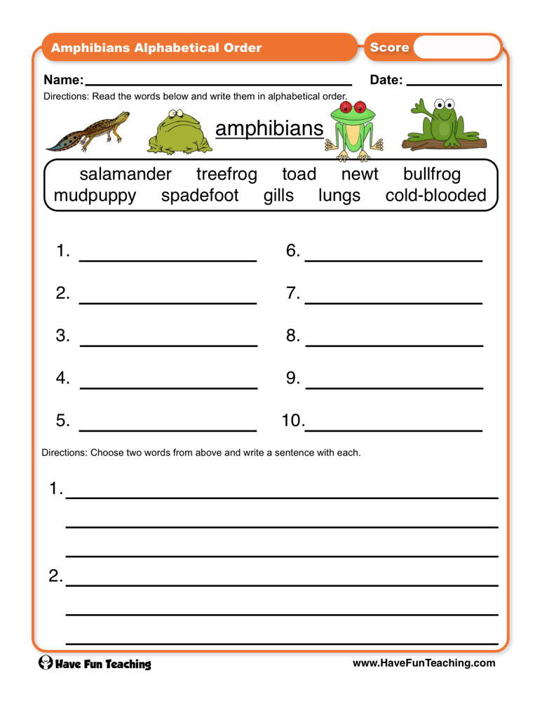 Amphibian Worksheets for Second Grade Amphibians Abc order Worksheet