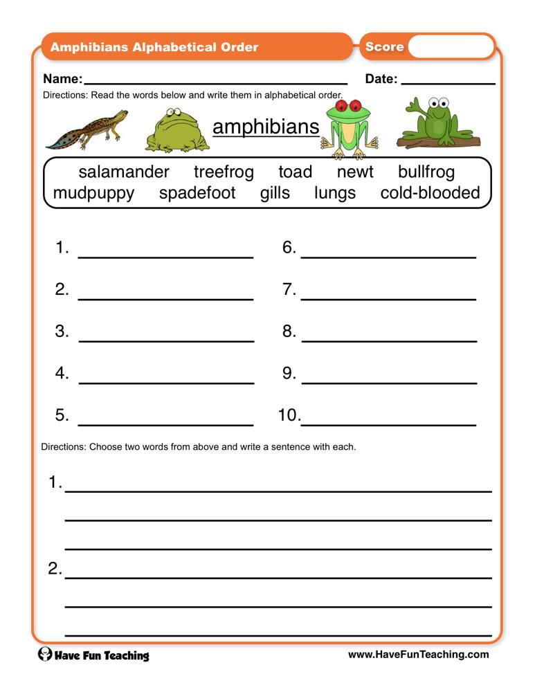 Amphibian Worksheets for Second Grade Amphibians Abc order Worksheet