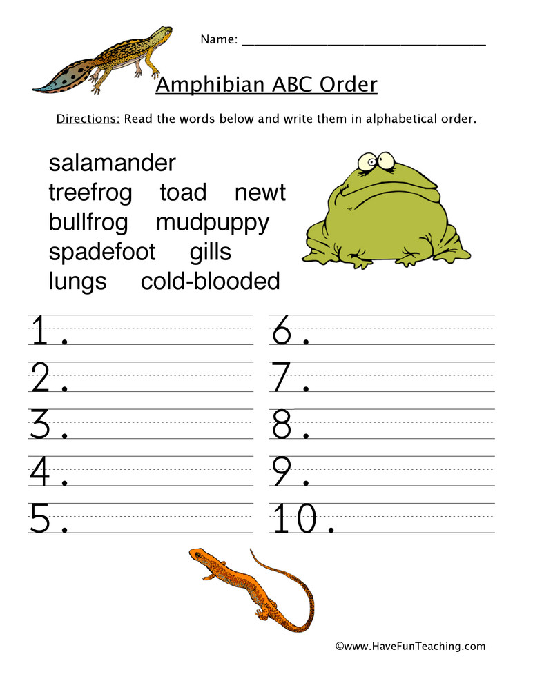 Amphibian Worksheets for Second Grade Amphibians Alphabetical order Worksheet