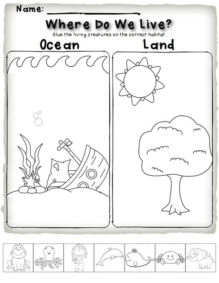 Animal Habitat Worksheets for Kindergarten Cut and Paste Animal Habitat Wworksheet for Kids