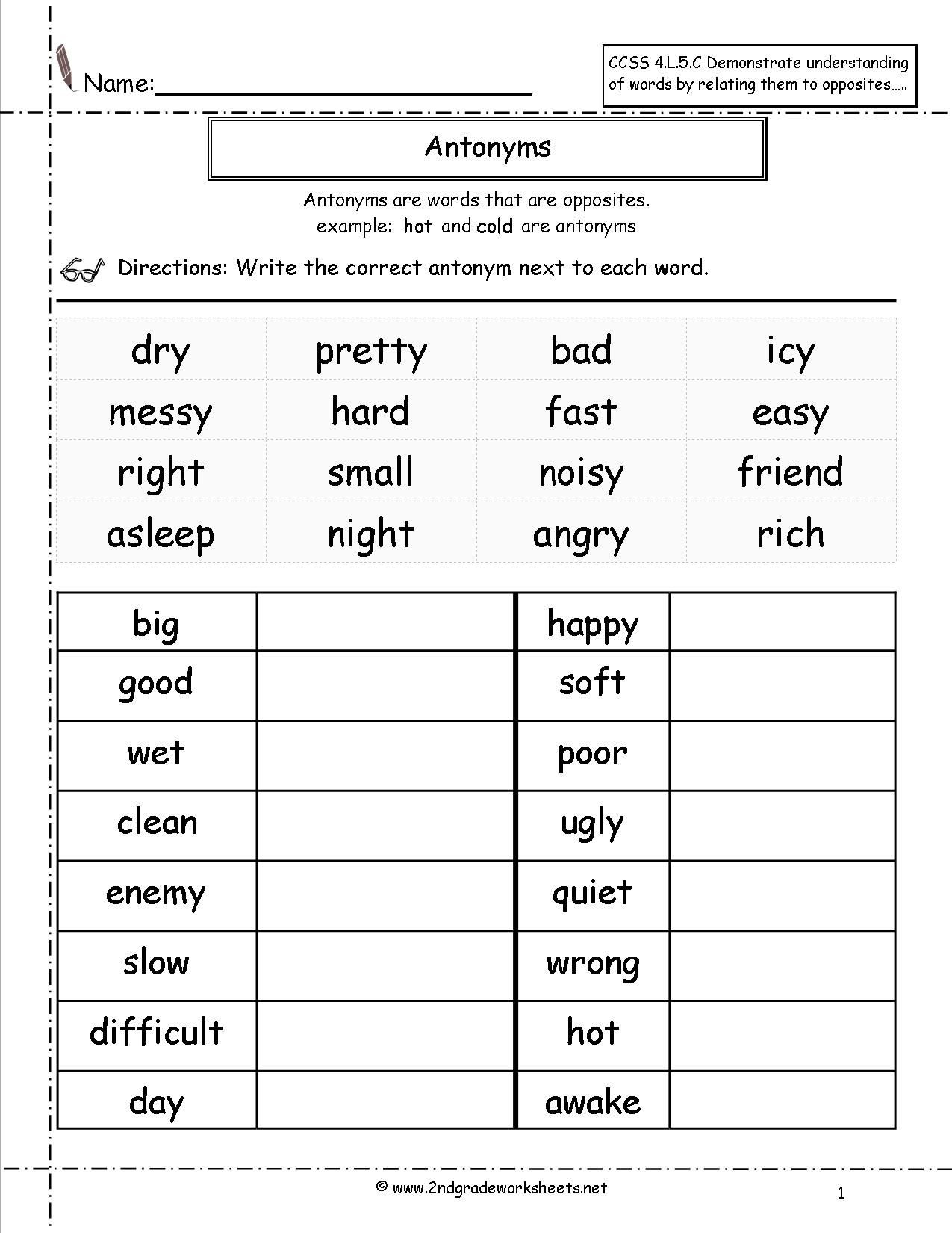 Antonyms Worksheets 3rd Grade Antonyms Worksheet