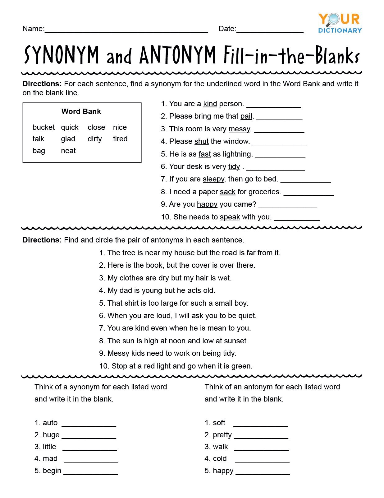 Antonyms Worksheets 3rd Grade First Grade Synonyms and Antonyms Worksheets