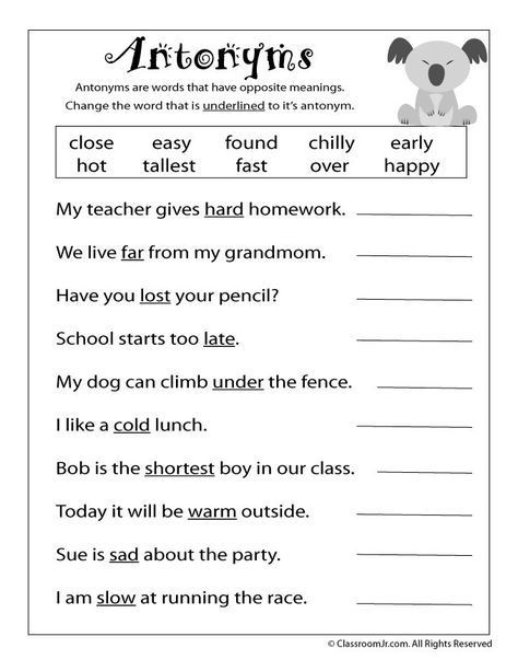 Antonyms Worksheets 3rd Grade Reading Worksheets Antonyms and Synonyms Antonym Worksheet