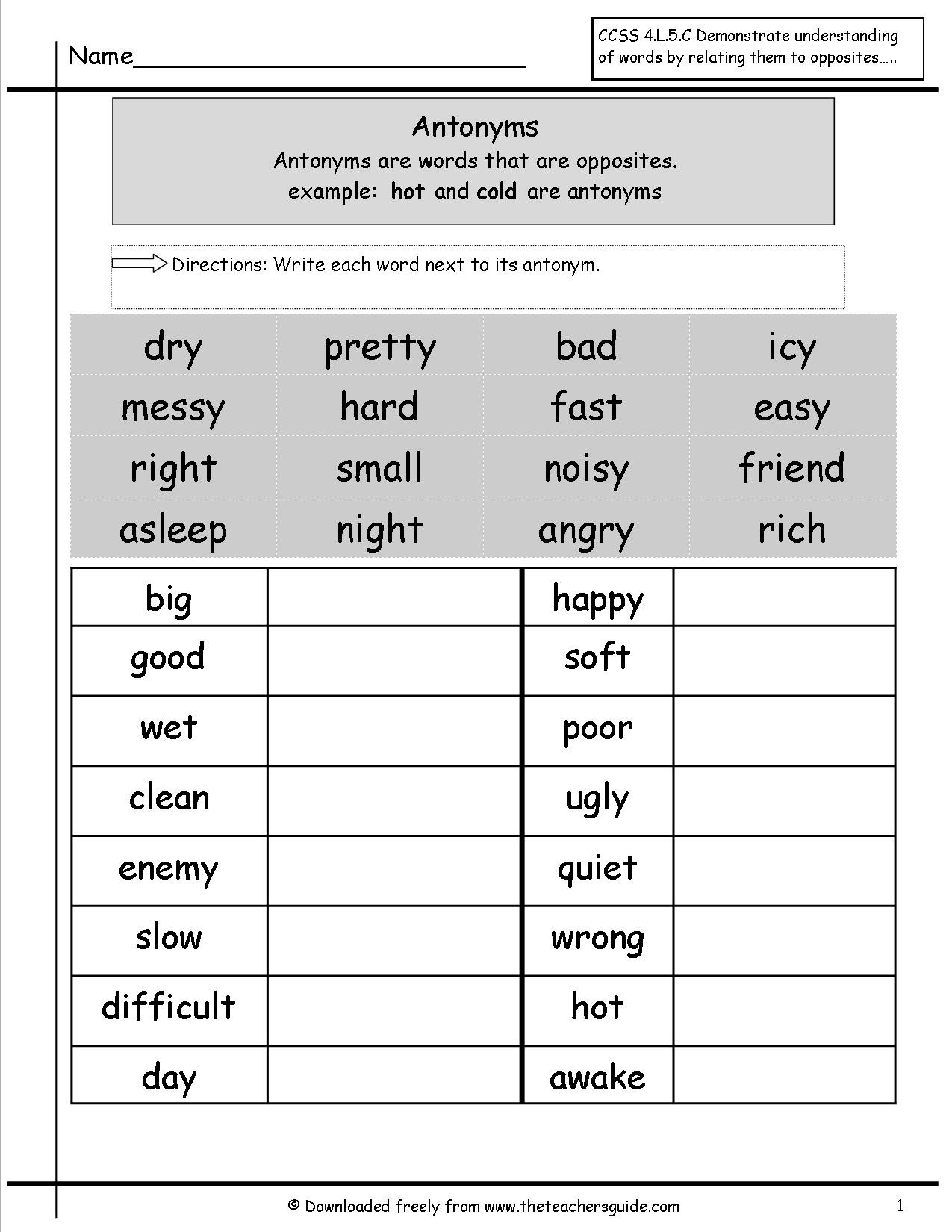 Antonyms Worksheets 3rd Grade Synonyms and Antonyms 4th Grade Lessons Tes Teach
