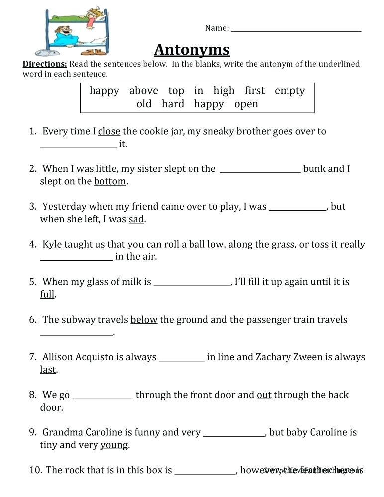 Antonyms Worksheets 3rd Grade Synonyms Antonyms Worksheets – Keepyourheadup