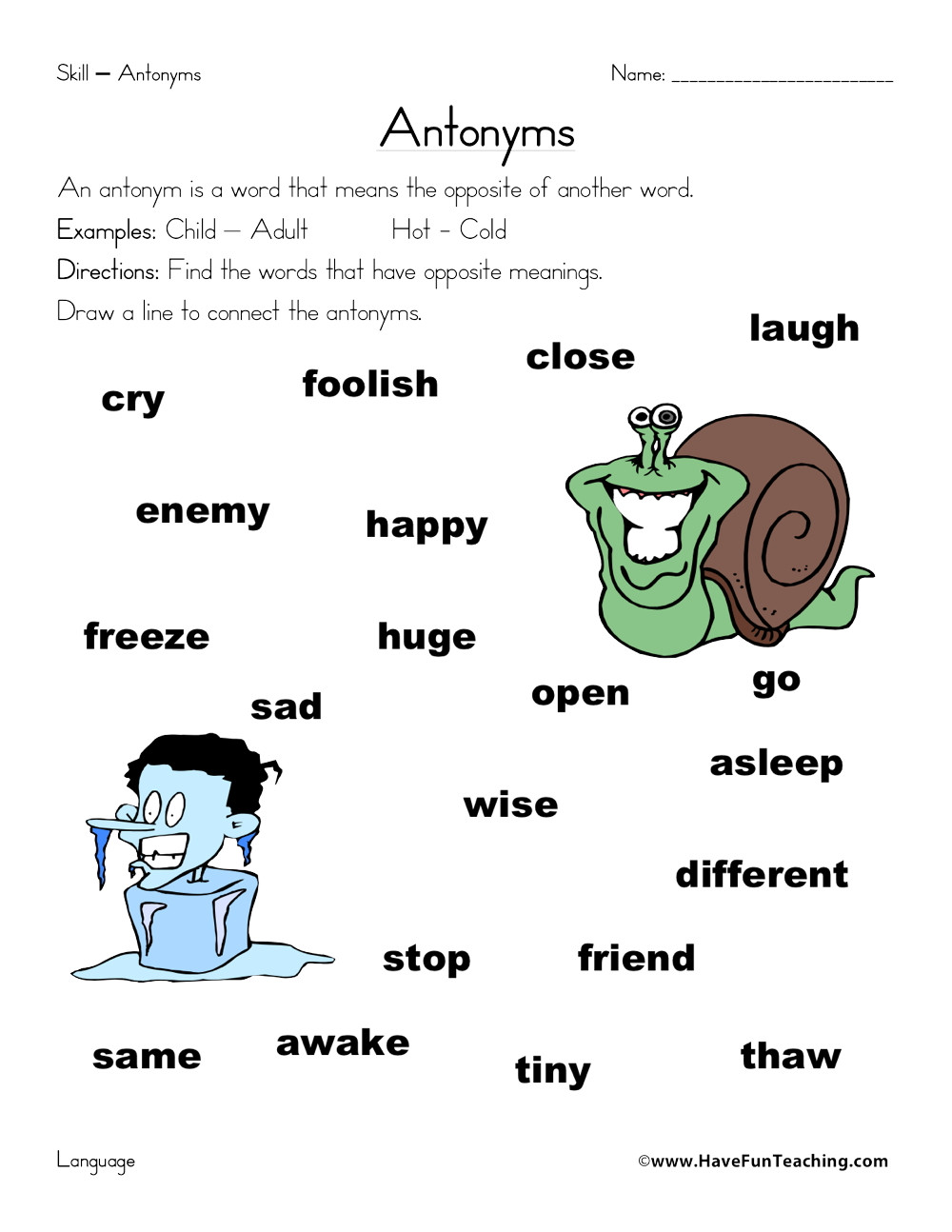 Antonyms Worksheets for Kindergarten Antonyms List Worksheet