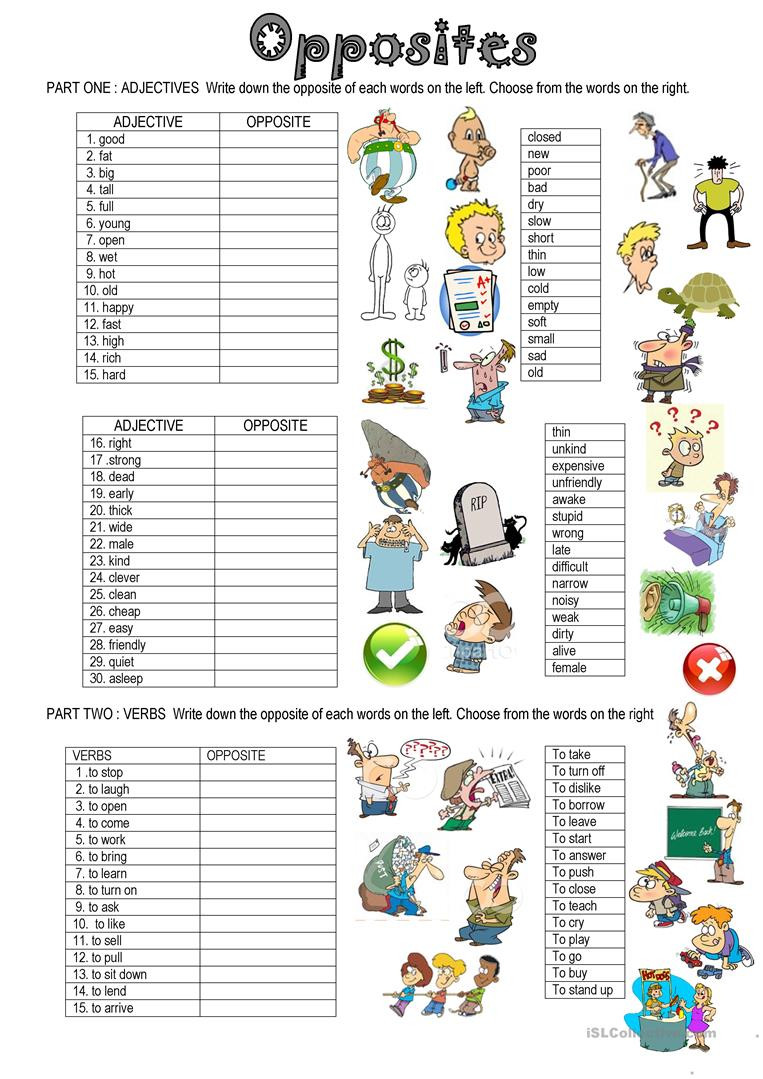 Antonyms Worksheets for Kindergarten English Esl Opposites Antonyms Worksheets Most