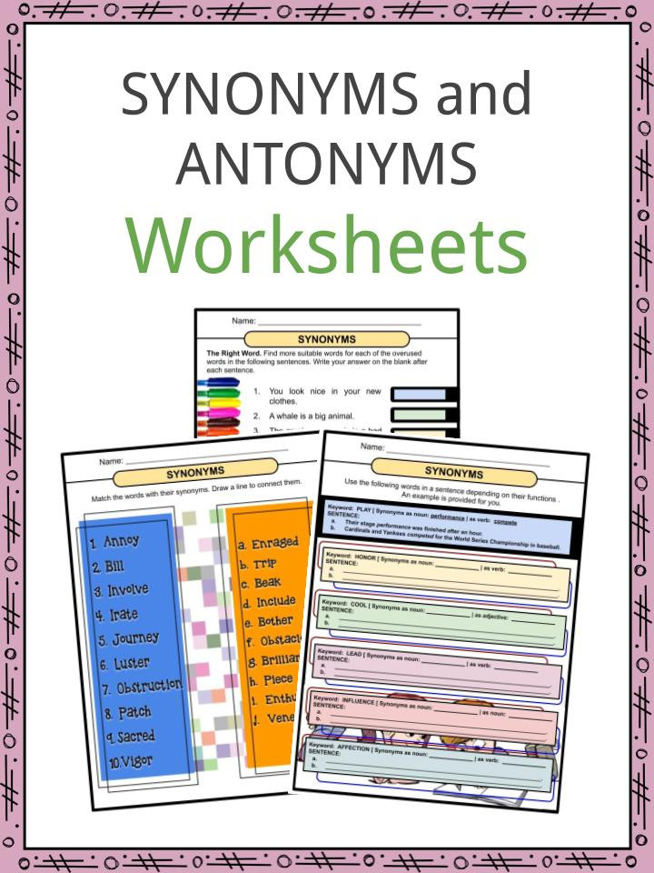 Antonyms Worksheets for Kindergarten Synonyms and Antonyms Worksheets Pdf Study Guide
